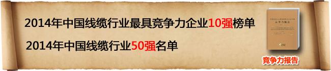 2014年中国线缆行业最具竞争力企业10强榜单